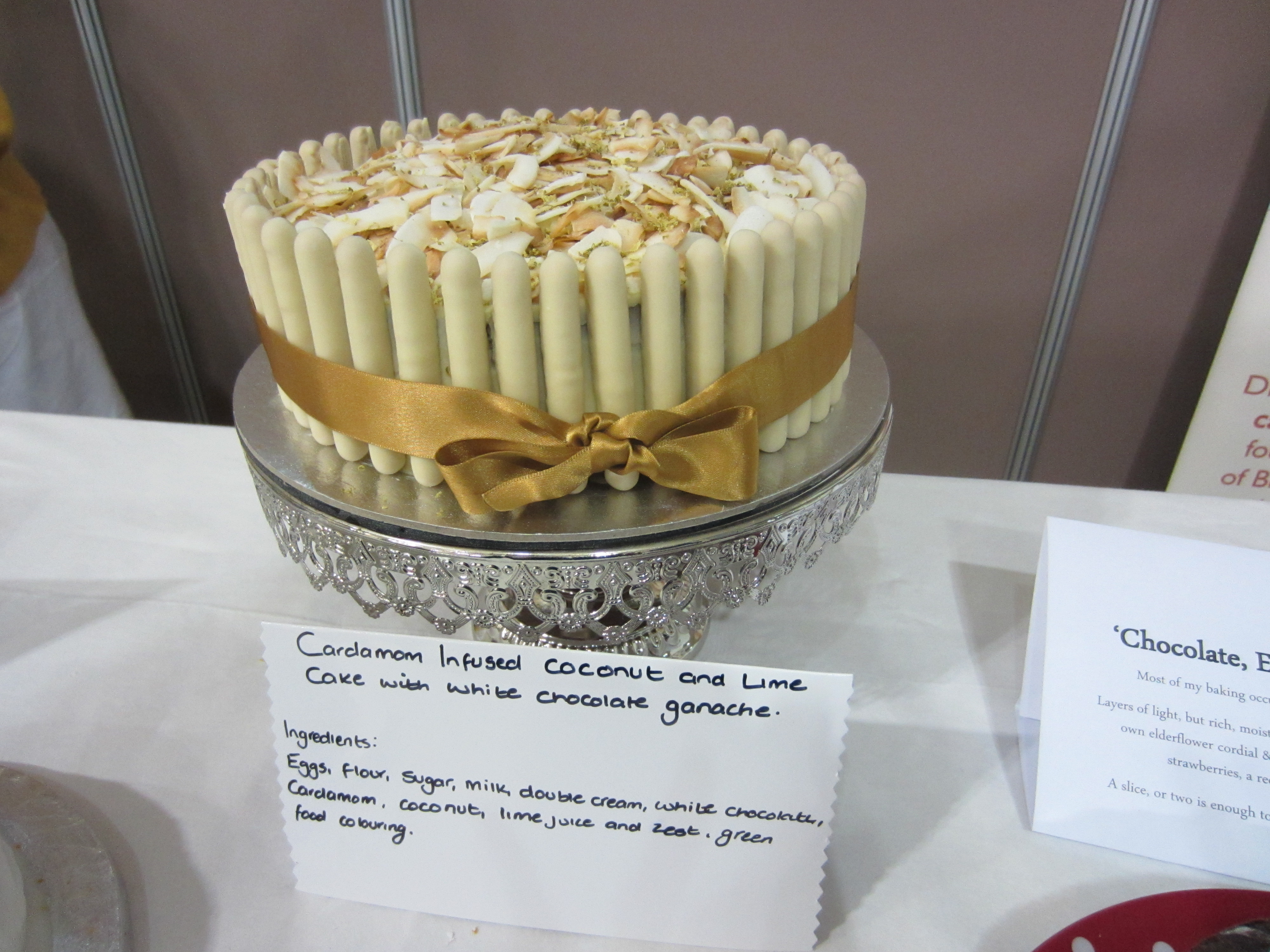 Cardamom Infused Lime And Coconut Cake With White Chocolate Ganache