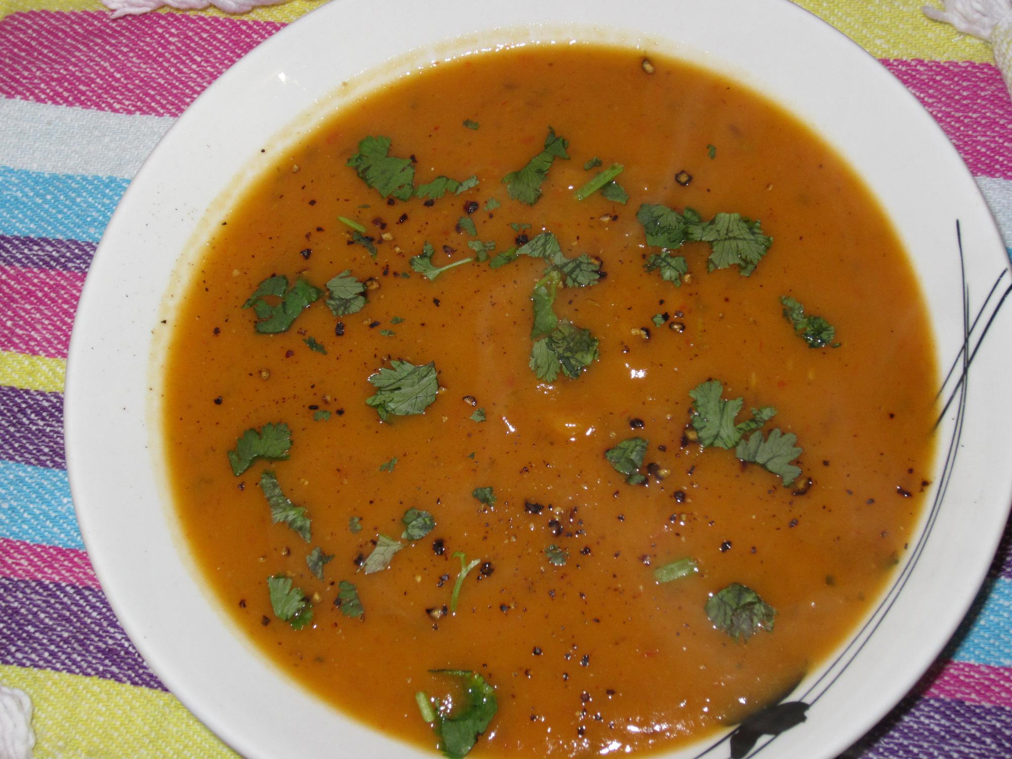 Spicy and Sweet: Roasted Pepper and Sweet Potato Soup |